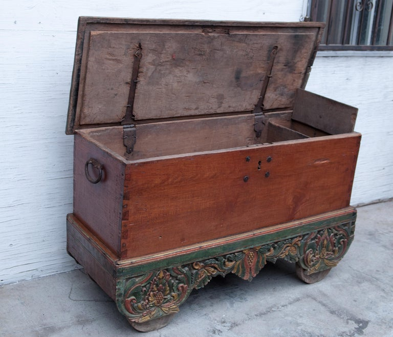 Mid-20th Century Teak Chest on Wheels from Java. Original Color and Hardware. For Sale 9