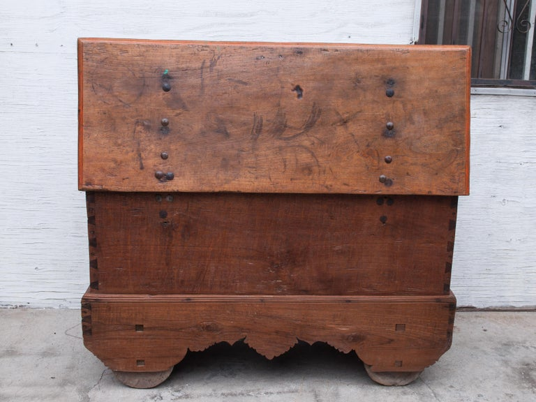 Mid-20th Century Teak Chest on Wheels from Java. Original Color and Hardware. For Sale 14