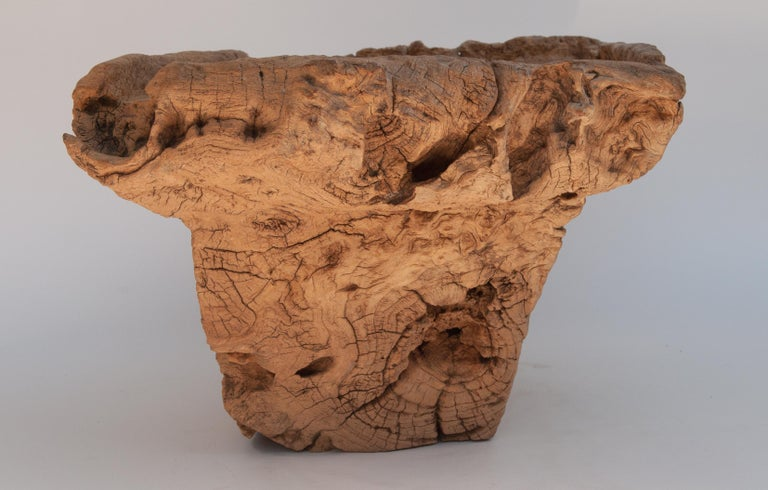 Old Eroded Teak Burlwood Mortar with Handle, North Thailand, Mid-20th Century For Sale 3