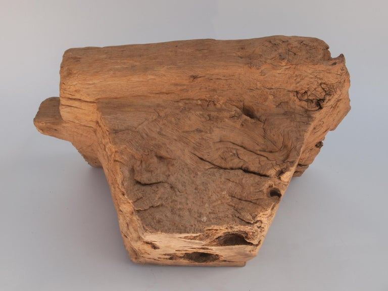 Old Eroded Teak Burlwood Mortar with Handle, North Thailand, Mid-20th Century For Sale 13