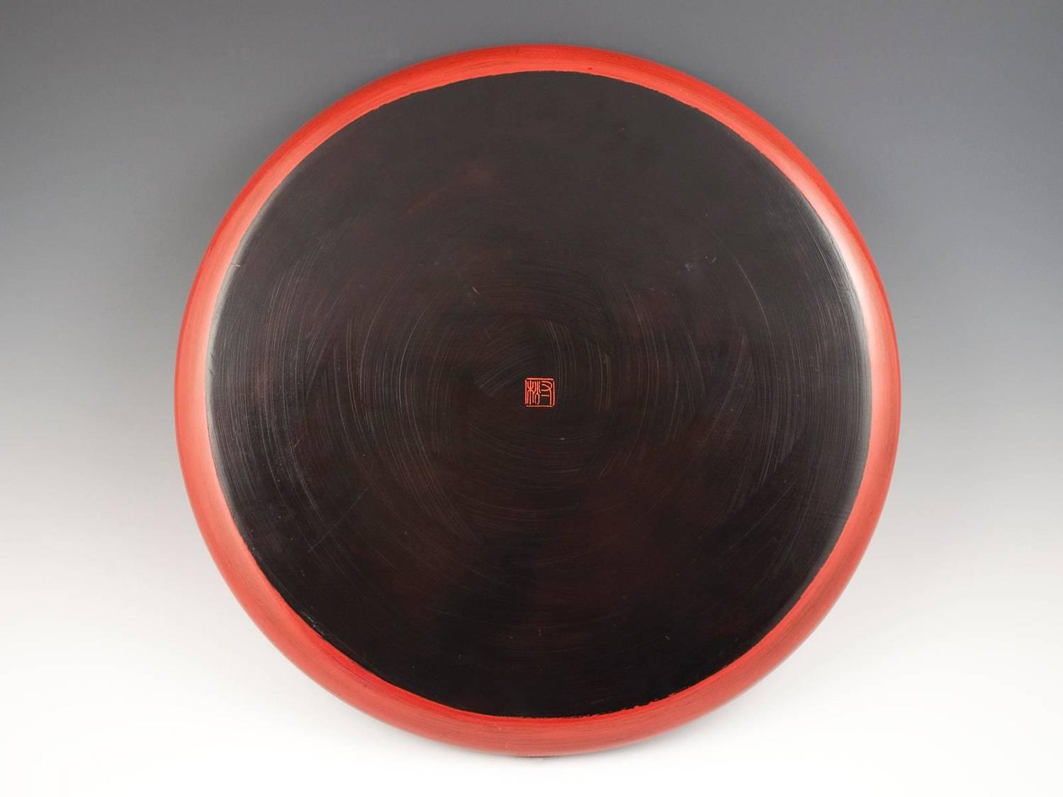 Mid 20th Century Kamakura Bori Red Lacquer Plate Japan