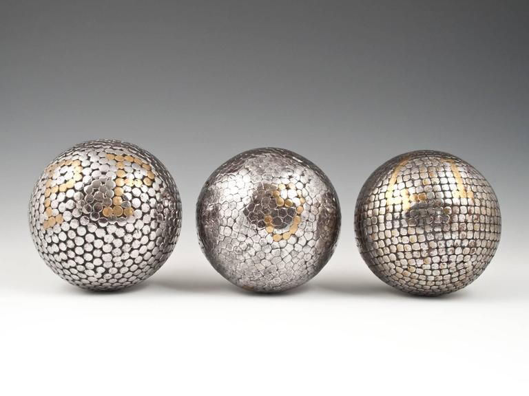 Folk Art 19th Century Bocce Balls, Italy or France, Set of Three For Sale