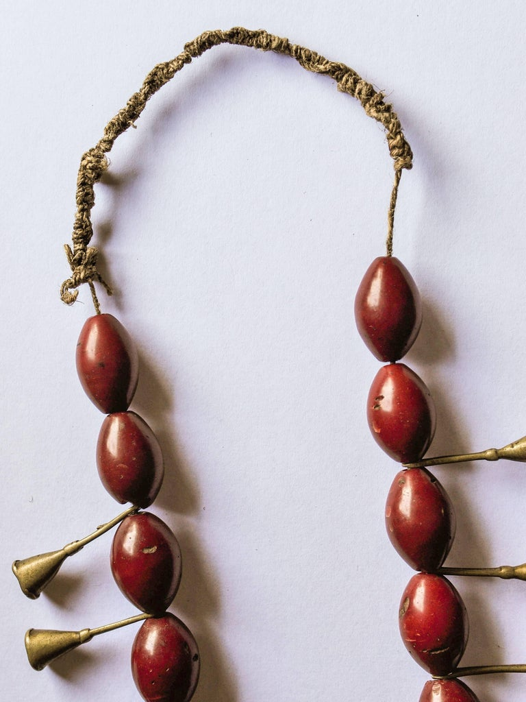 Indian Ao Naga Tribal Glass and Brass Trumpet Bead Necklace, Early to Mid-20th Century For Sale