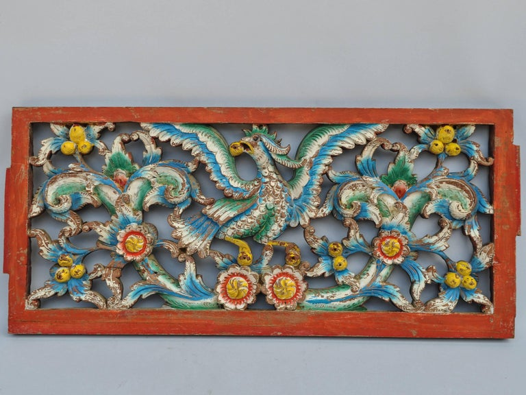 Set of Three Hand-Carved Teak Architectural Panels from Java, Mid-20th Century In Good Condition For Sale In Point Richmond, CA
