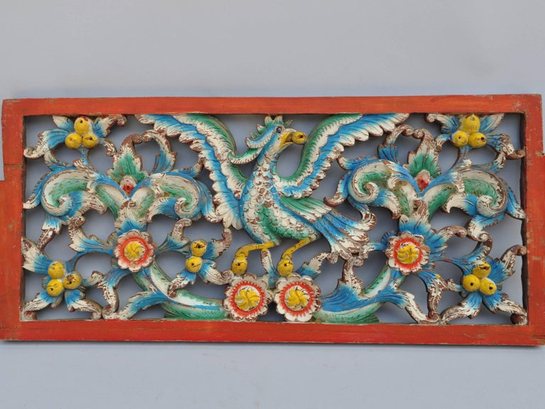 Set of Three Hand-Carved Teak Architectural Panels from Java, Mid-20th Century For Sale 3