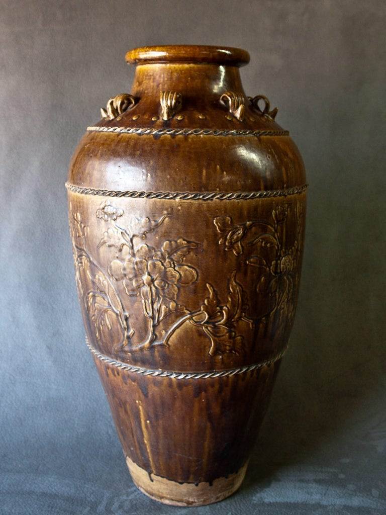 Chinese Tall Martaban Ware Storage Jar Ming Dynasty Found in Laos, Floral Design For Sale