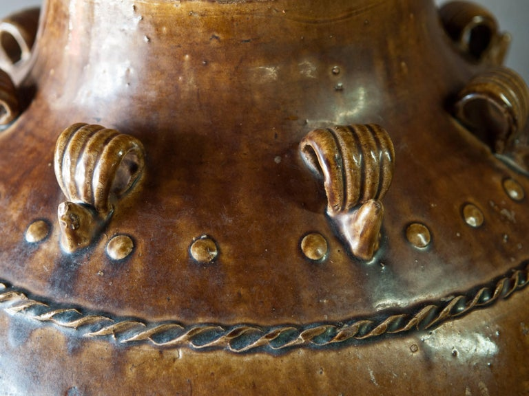 Tall Martaban Ware Storage Jar Ming Dynasty Found in Laos, Floral Design In Excellent Condition For Sale In BAY AREA, CA