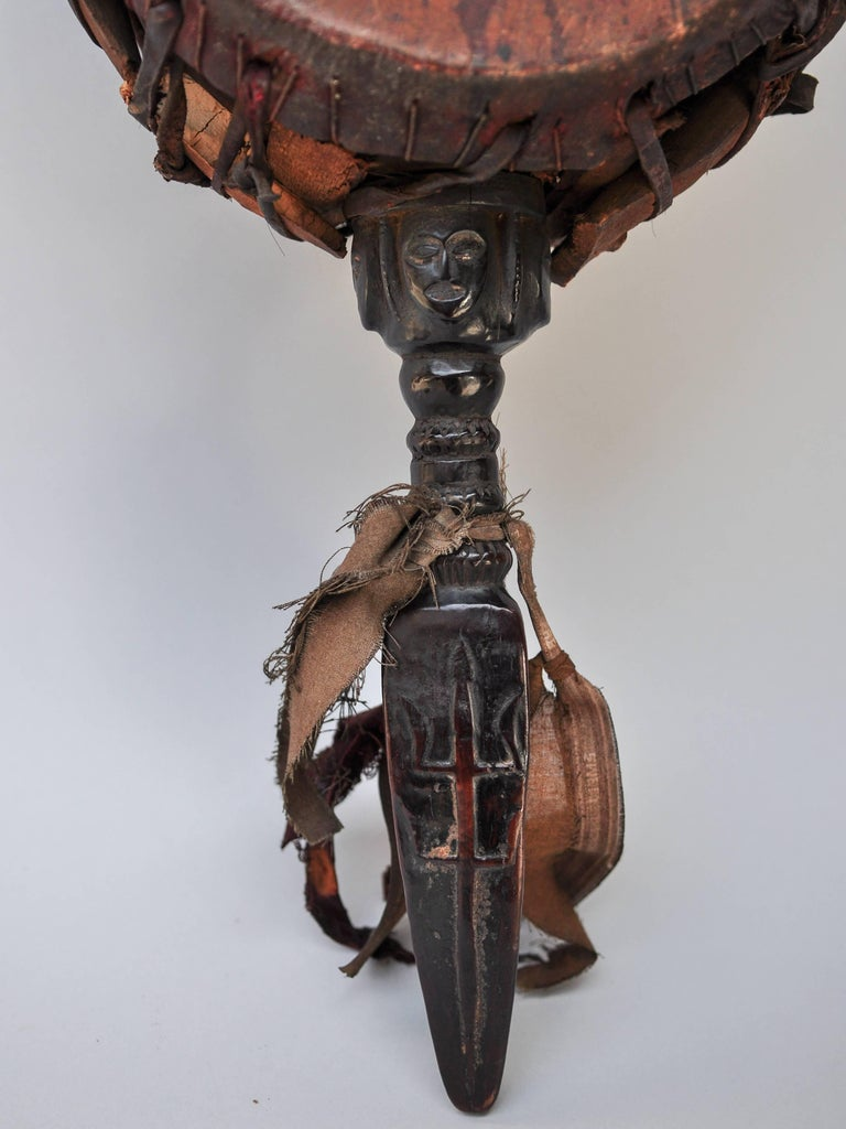 Hand-Carved Shaman Drum with Carved Wooden Handle, Nepal Himalaya, Mid-20th Century For Sale