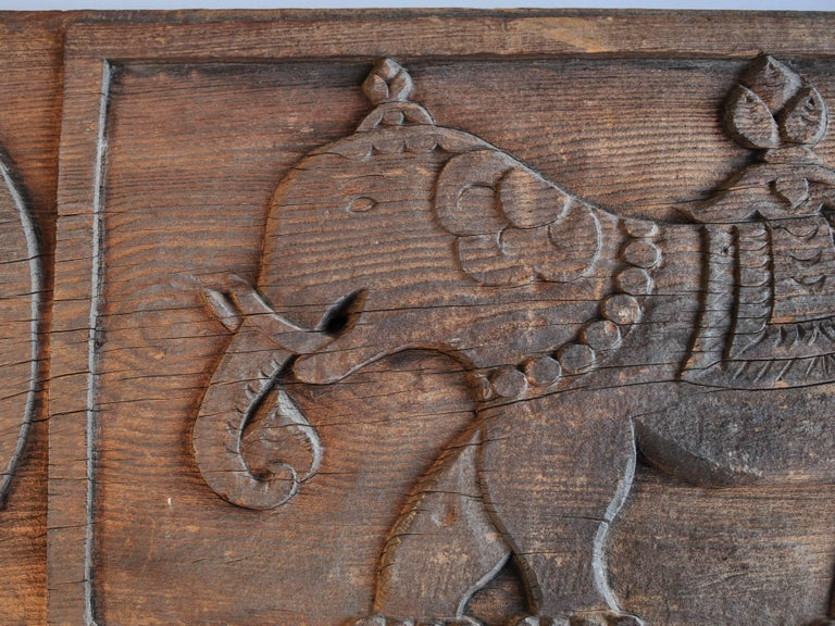 Tibetan Carved Tibet Architectural Panel Elephant & Bird Motifs Early-Mid 20th Century For Sale