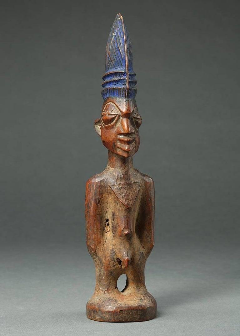 Hand-Carved Yoruba Male Twin Figure, Ere Ibeji, Nigeria, African Tribal Art Tall Hair Style For Sale