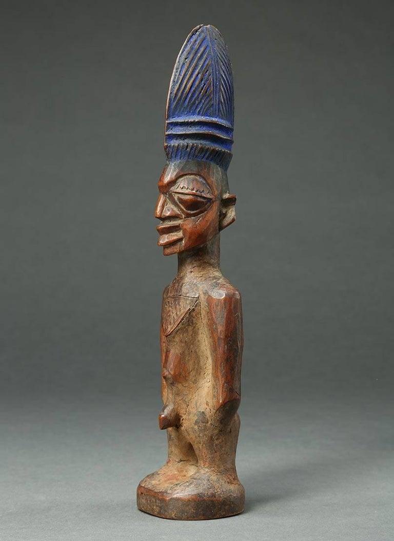 20th Century Yoruba Male Twin Figure, Ere Ibeji, Nigeria, African Tribal Art Tall Hair Style For Sale