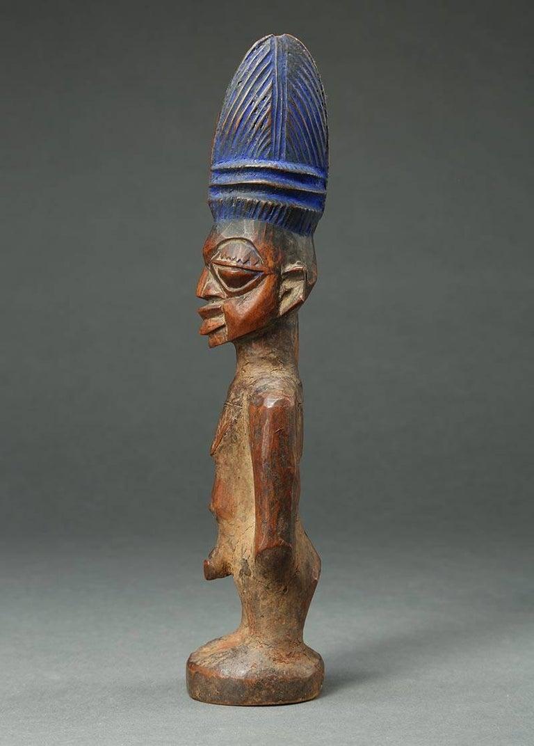 Wood Yoruba Male Twin Figure, Ere Ibeji, Nigeria, African Tribal Art Tall Hair Style For Sale