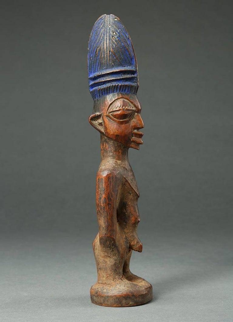 Yoruba Male Twin Figure, Ere Ibeji, Nigeria, African Tribal Art Tall Hair Style For Sale 1