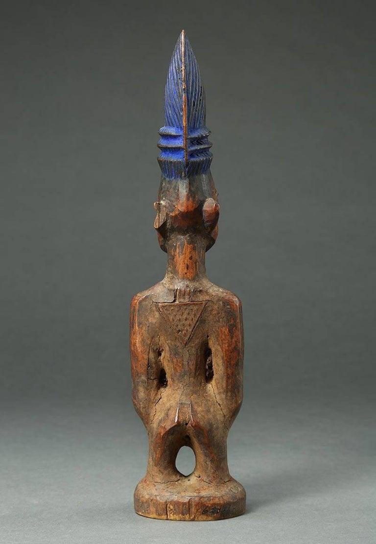Yoruba Male Twin Figure, Ere Ibeji, Nigeria, African Tribal Art Tall Hair Style For Sale 2