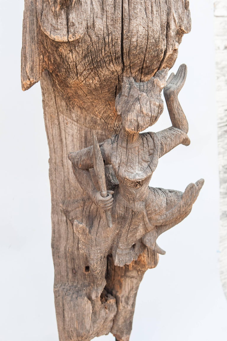 Chofa Roof Finial from Burma, Carved and Eroded Teak Wood, Early 20th Century For Sale 1