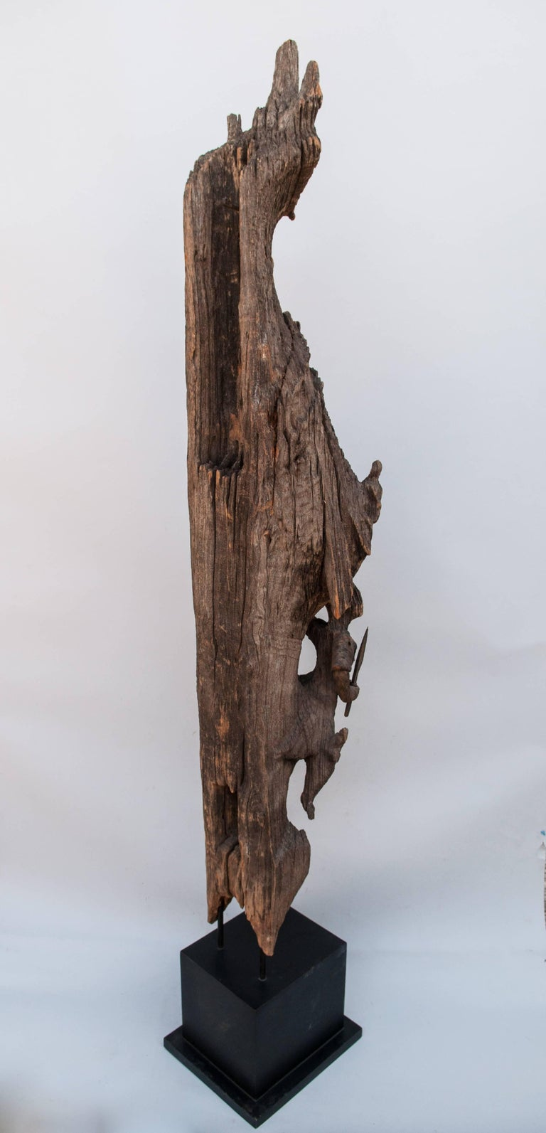 Hand-Carved Chofa Roof Finial from Burma, Carved and Eroded Teak Wood, Early 20th Century For Sale