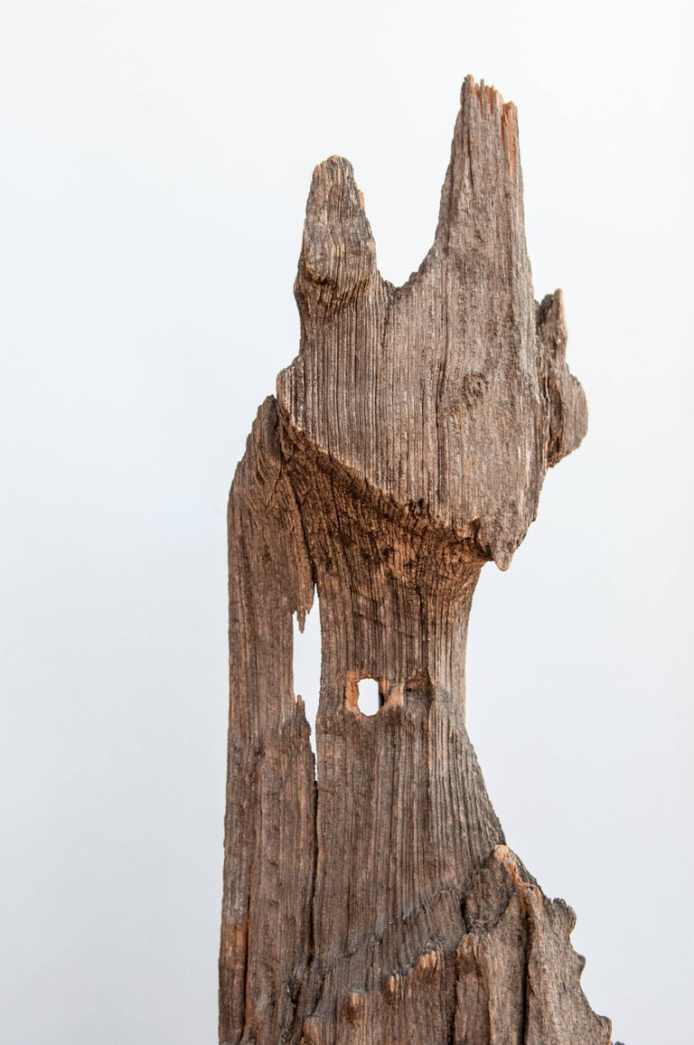 Chofa Roof Finial from Burma, Carved and Eroded Teak Wood, Early 20th Century In Distressed Condition For Sale In Point Richmond, CA