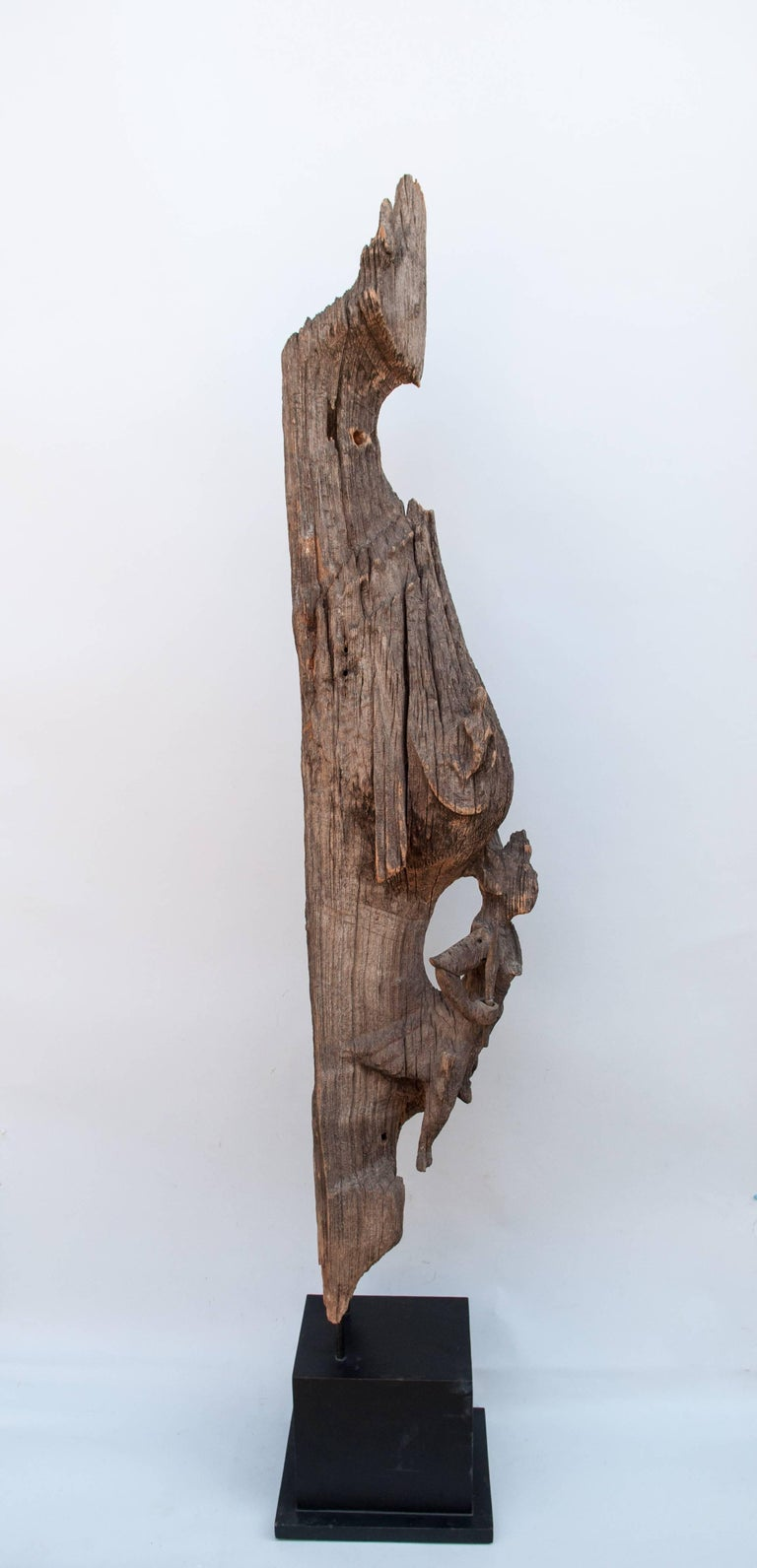 Burmese Chofa Roof Finial from Burma, Carved and Eroded Teak Wood, Early 20th Century For Sale