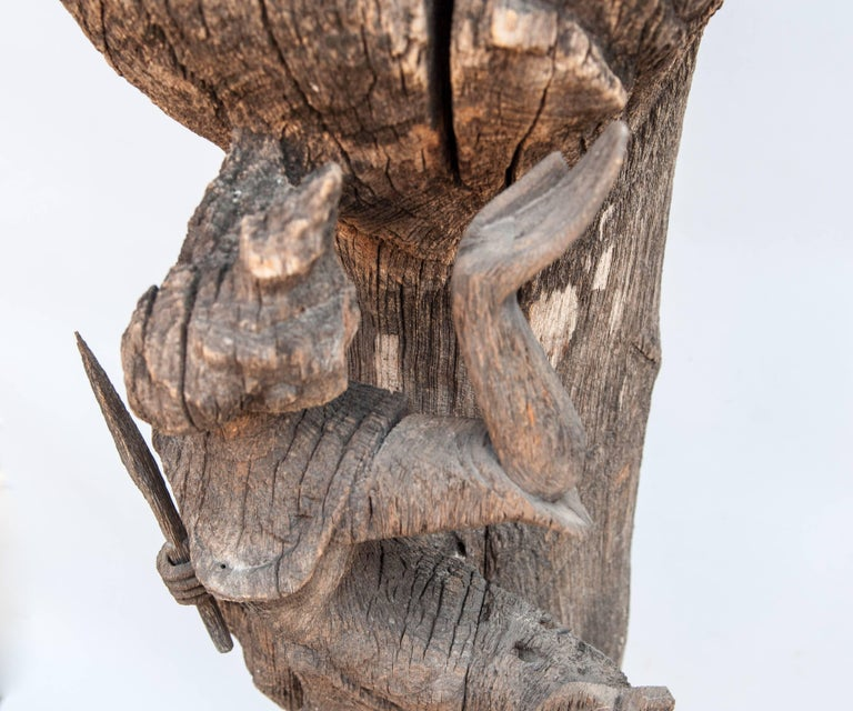 Chofa Roof Finial from Burma, Carved and Eroded Teak Wood, Early 20th Century For Sale 4