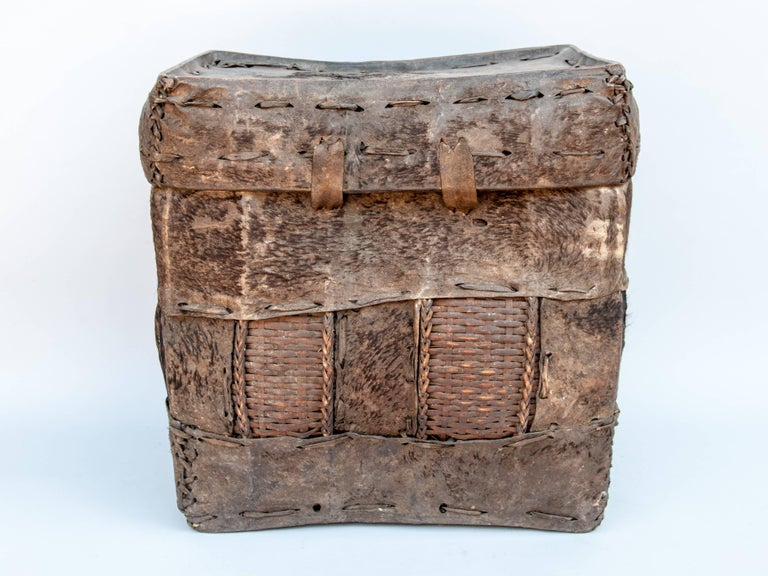 Tribal Storage Basket with Lid. Bhutan. Early to Mid-20th Century. Hide & Bamboo For Sale 1