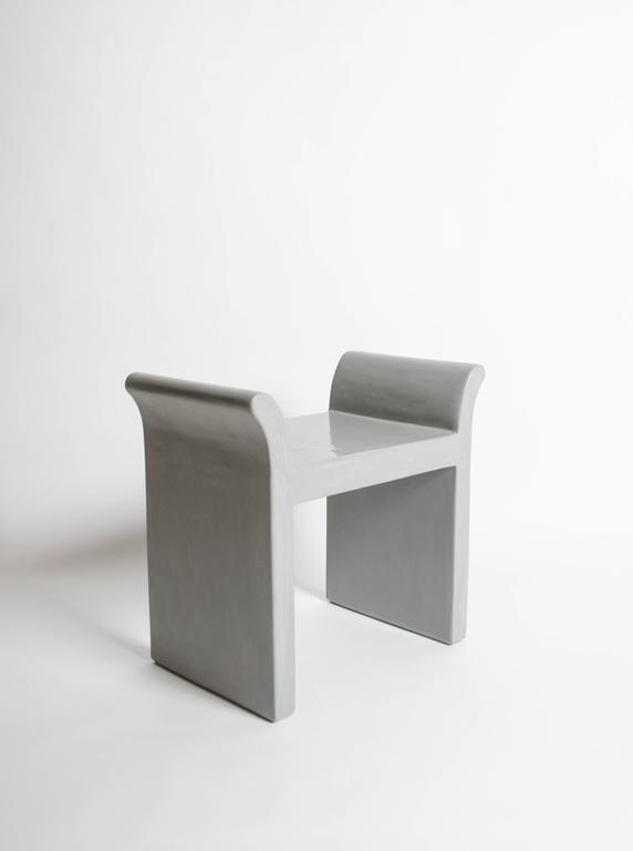 Modern Vanity Seat in Grey Lacquer by Robert Kuo, Limited Edition For Sale