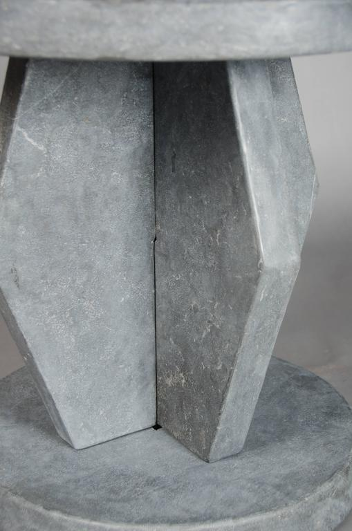 Hand-Carved Brancusi Design Table - Black Stone by Robert Kuo, Hand Made, Limited Edition For Sale