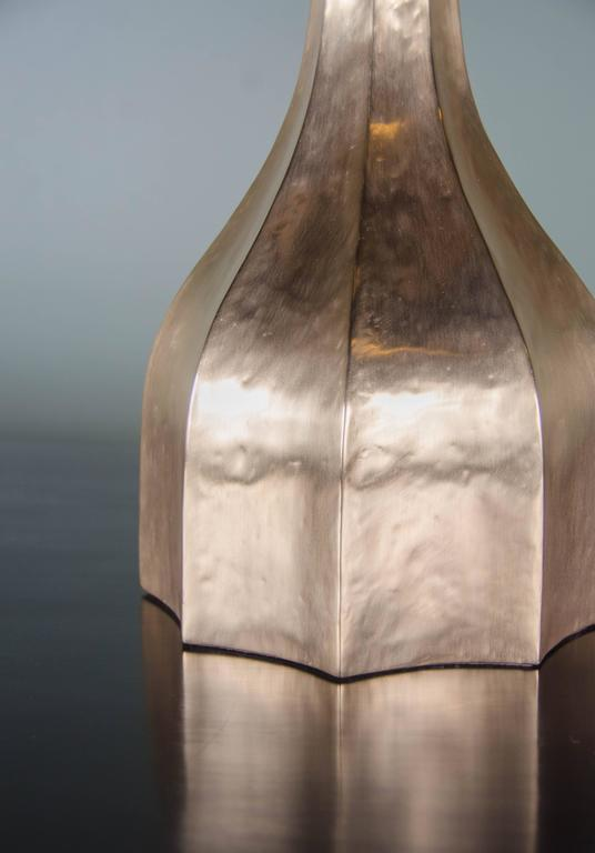 Repoussé Faceted Lamp and Shade, 24-Karat Gold Plate by Robert Kuo, Limited Edition For Sale