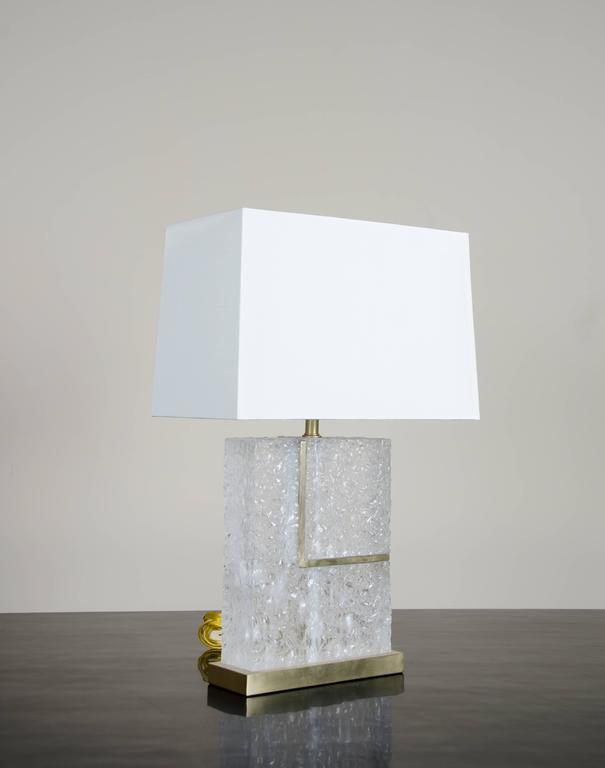"""L"" Table Lamp in Crystal and Brass by Robert Kuo, Limited Edition 2"