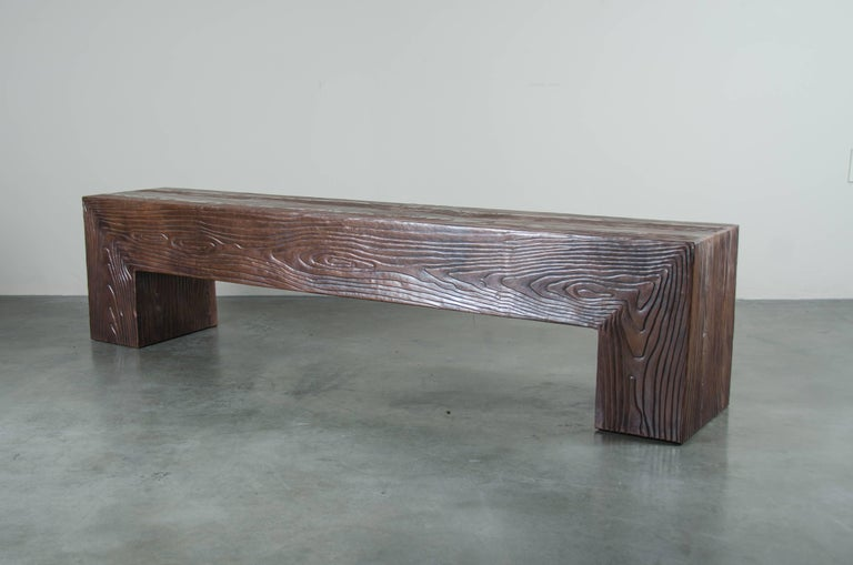 Repoussé Long Woodgrain Bench - Antique Copper by Robert Kuo, Limited Edition For Sale