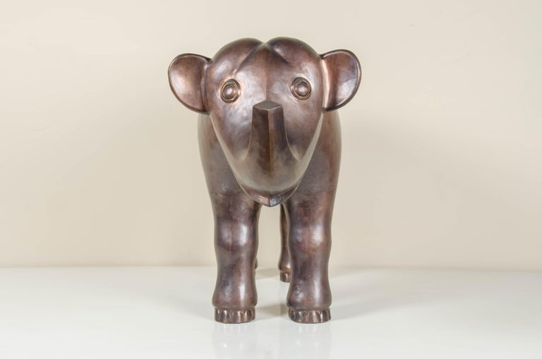 Elephant sculpture Antique copper Hand repoussé Limited edition  Repousse is the traditional art of hand-hammering decorative relief onto sheet metal. The technique originated around 800 BC between Asia and Europe and in Chinese historical
