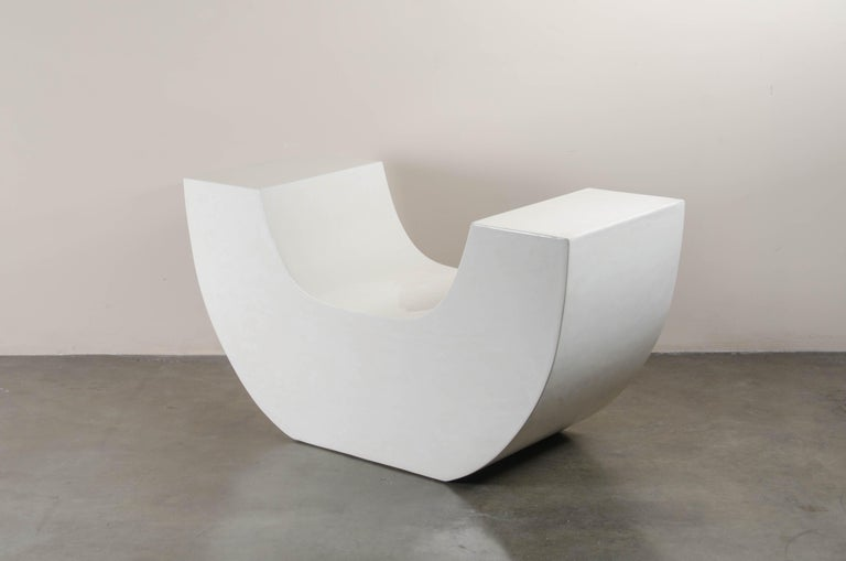 Contemporary Huang Chair, Cream Lacquer by Robert Kuo, Limited Edition For Sale