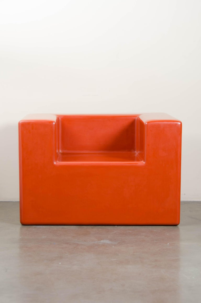 Armrest Chair, Coral Lacquer by Robert Kuo, Hand Repoussé, Limited Edition In New Condition For Sale In West Hollywood, CA