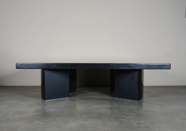 Curve Rectangular Cocktail Table, Black Lacquer, Hand Repoussé, Limited Edition In New Condition For Sale In West Hollywood, CA