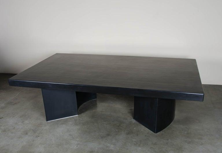 Contemporary Curve Rectangular Cocktail Table, Black Lacquer, Hand Repoussé, Limited Edition For Sale