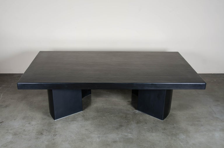 Curve Rectangular Cocktail Table, Black Lacquer, Hand Repoussé, Limited Edition For Sale 1