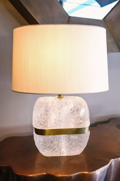 Do shape ice carved crystal lamp with brass center for sale at 1stdibs - Artistic d lamp shade designed with modern and elegant shape style ...