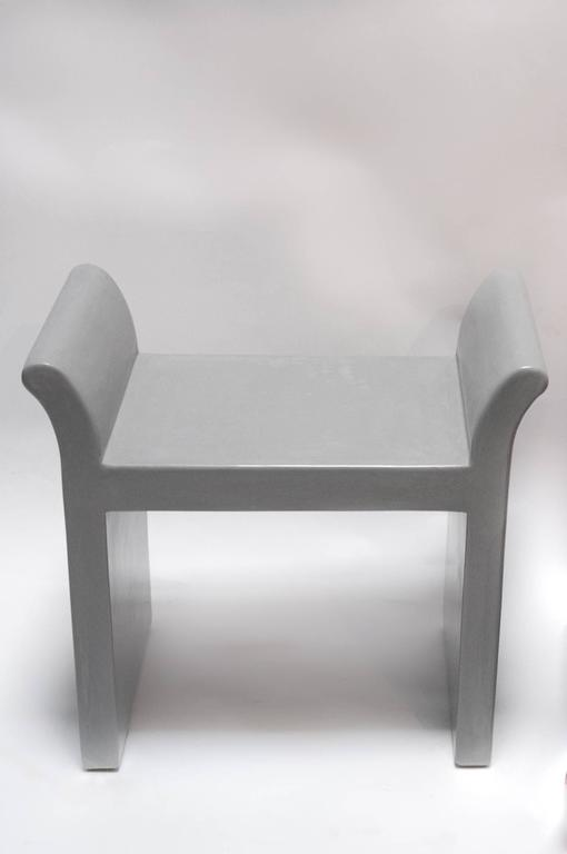 Chinese Vanity Seat in Grey Lacquer by Robert Kuo, Limited Edition For Sale