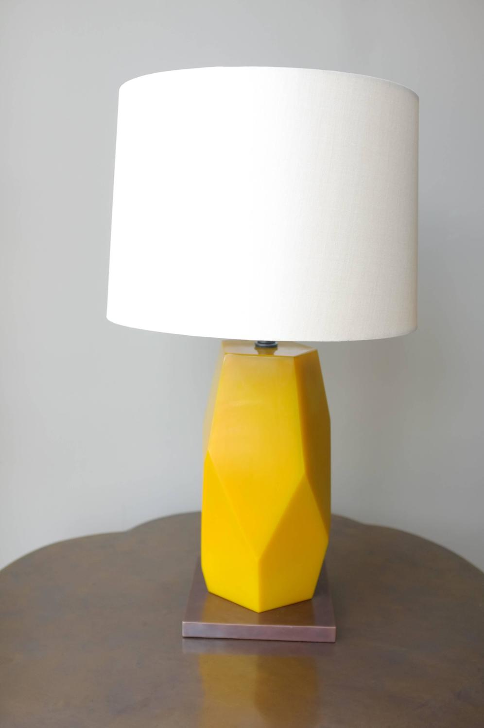 Grand Facet Lamp With Base Yellow Peking Glass Antique
