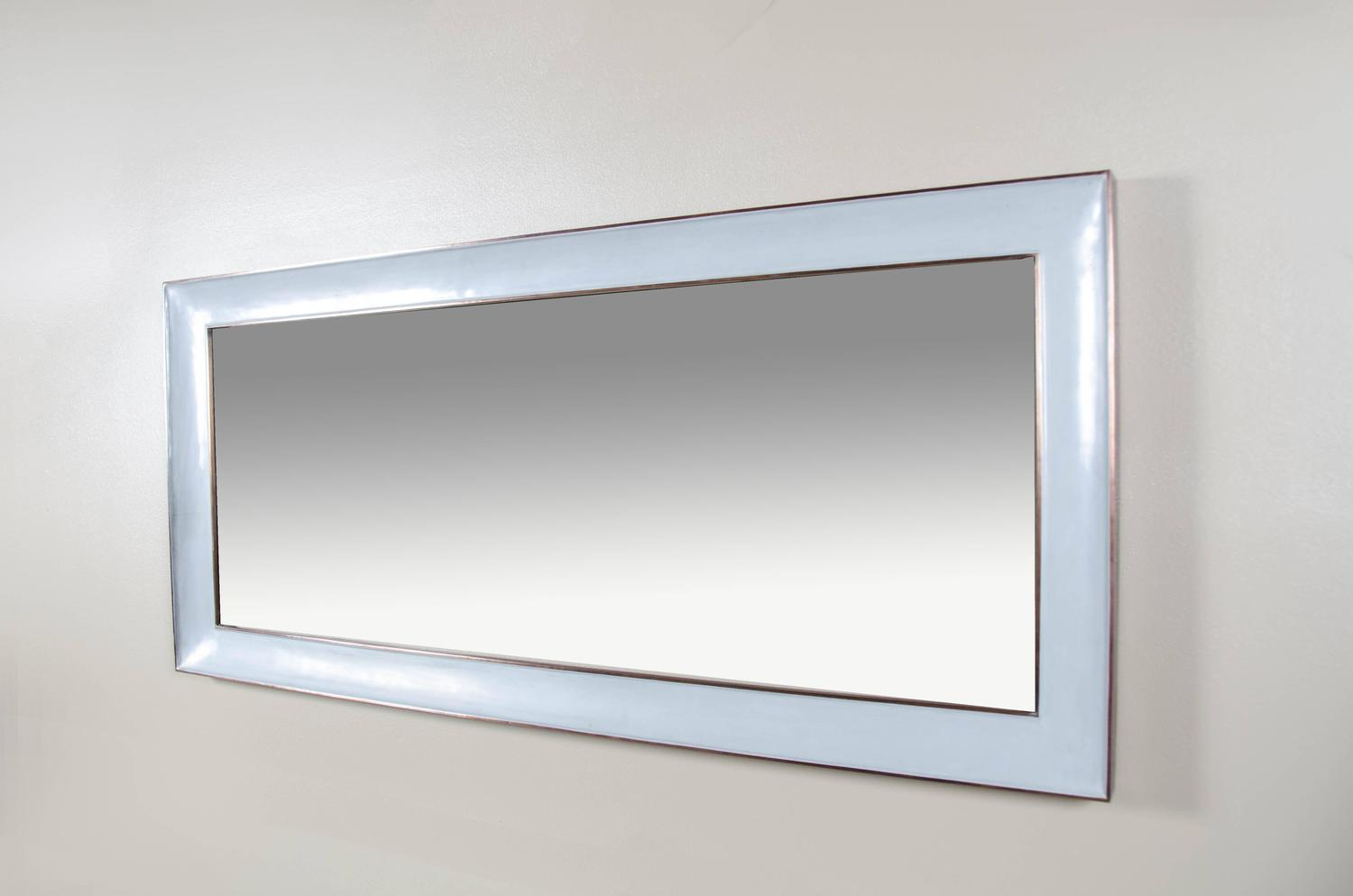 Full length vanity mirror with copper trim grey lacquer for Gray full length mirror