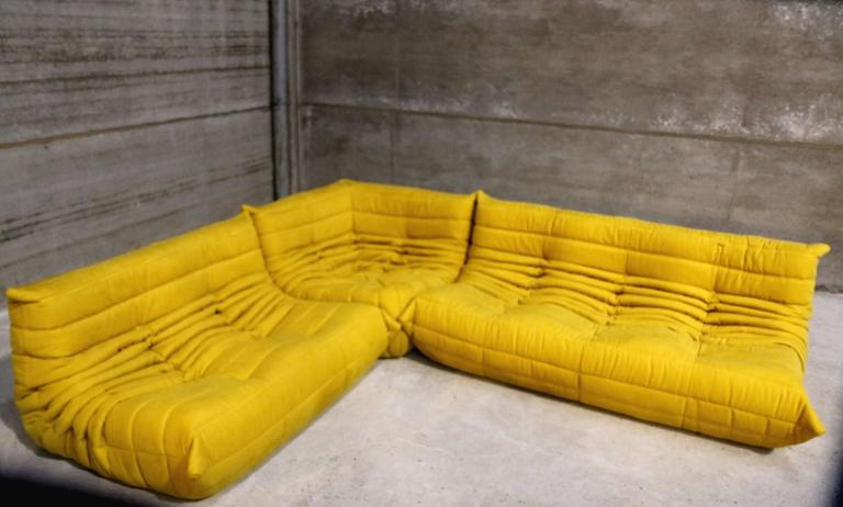 vintage yellow togo sofa set michel ducaroy for ligne roset france at 1stdibs. Black Bedroom Furniture Sets. Home Design Ideas