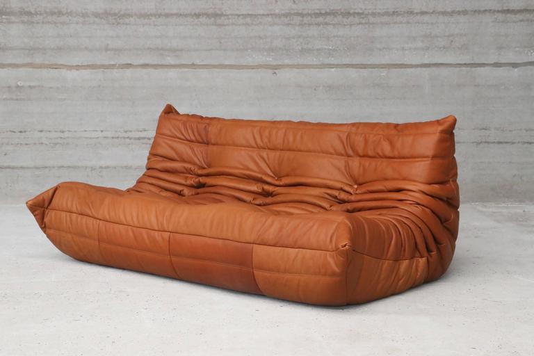 cognac leather ligne roset togo sofa set designed in 1973. Black Bedroom Furniture Sets. Home Design Ideas