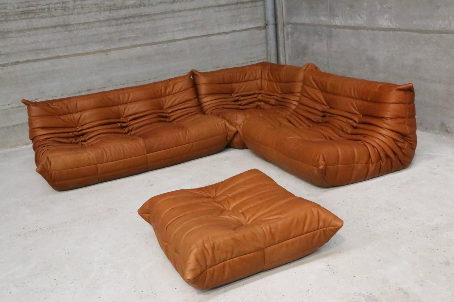 cognac leather ligne roset togo sofa set designed in 1973 by michel ducaroy at 1stdibs. Black Bedroom Furniture Sets. Home Design Ideas