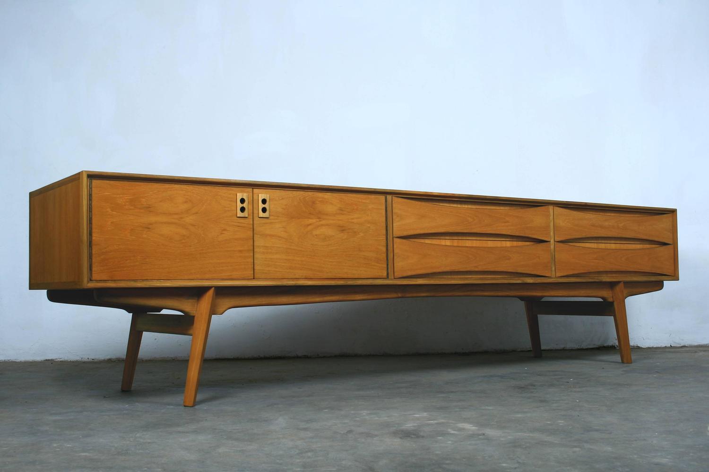 Belgian vintage lowboard sideboard 1960s teak veneer for for Sideboard lowboard