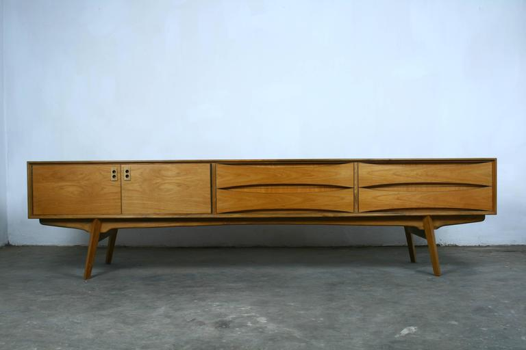 belgian vintage lowboard sideboard 1960s teak veneer at. Black Bedroom Furniture Sets. Home Design Ideas