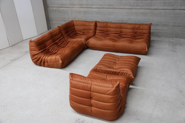 vintage ligne roset togo set reupholstered in vintage cognac leather at 1stdibs. Black Bedroom Furniture Sets. Home Design Ideas