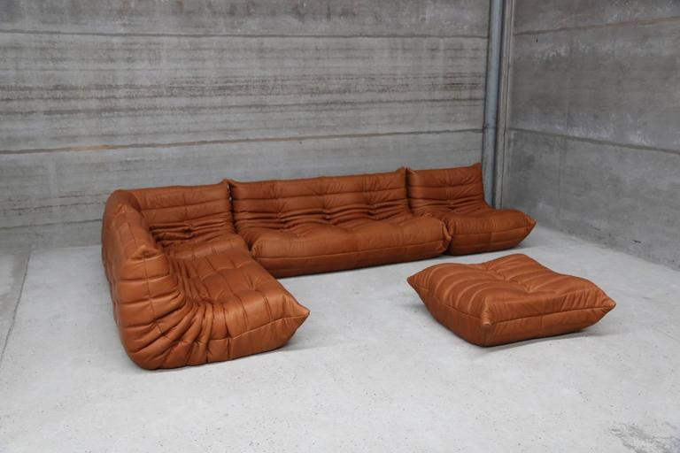 Beau Mid Century Modern Vintage Ligne Roset Togo Set Reupholstered In Vintage  Cognac Leather For Sale