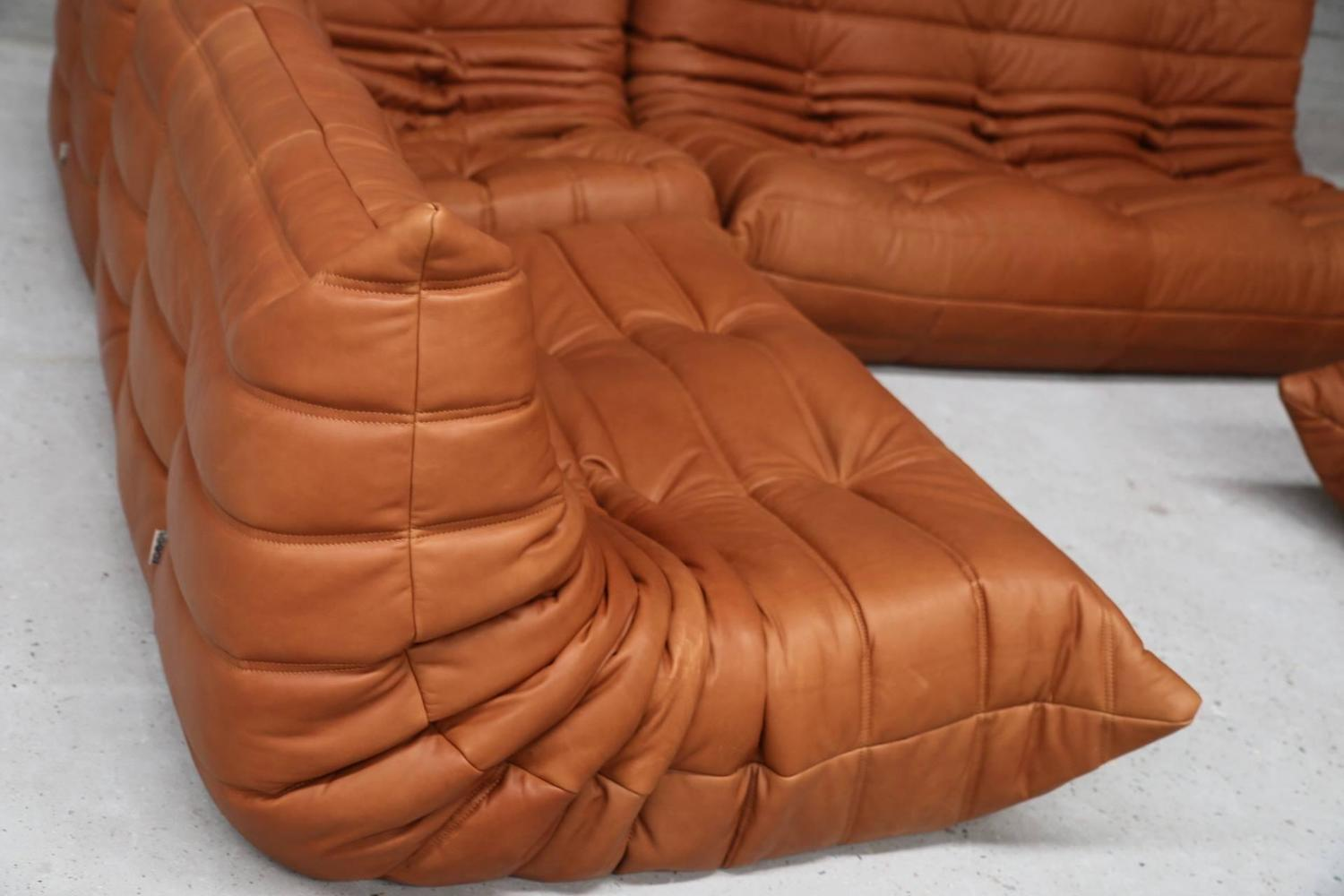 vintage ligne roset togo set reupholstered in vintage cognac leather for sale at 1stdibs. Black Bedroom Furniture Sets. Home Design Ideas