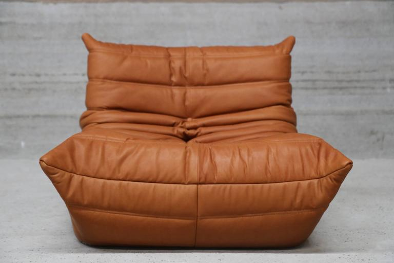 Pair of vintage ligne roset togo leather lounge chairs with pouf france at 1 - Pouf togo ligne roset ...