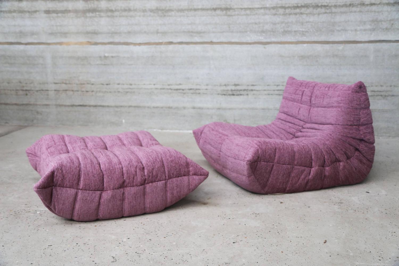 pink lounge chair and ottoman by ligne roset france model togo for sale at 1stdibs. Black Bedroom Furniture Sets. Home Design Ideas