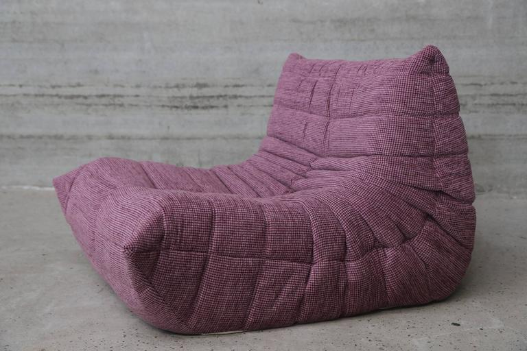 Pink lounge chair and ottoman by ligne roset france model togo for sale at 1s - Pouf togo ligne roset ...